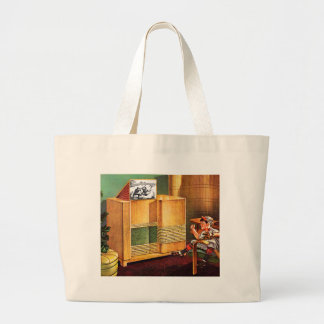 Retro Vintage Kitsch TV Television Radio Large Tote Bag