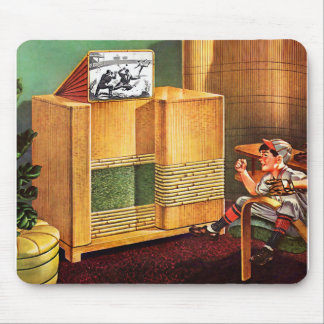 Retro Vintage Kitsch TV Television Radio Mouse Pad