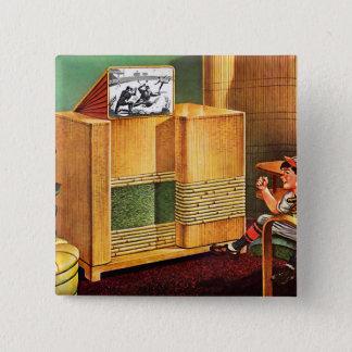 Retro Vintage Kitsch TV Television Radio Pinback Button