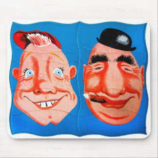 Retro Vintage Kitsch Two Goofy Hapy Face Puzzle Mouse Pad