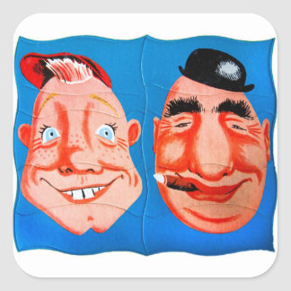 Retro Vintage Kitsch Two Goofy Hapy Face Puzzle Square Sticker