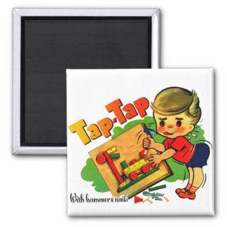 Retro Vintage Kitsch UK Tap-Tap Toy Kit 2 Inch Square Magnet