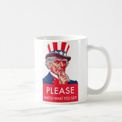 Retro Vintage Kitsch Uncle Sam Watch What You Say Classic White Coffee Mug
