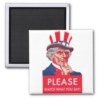 Retro Vintage Kitsch Uncle Sam Watch What You Say Fridge Magnet