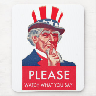 Retro Vintage Kitsch Uncle Sam Watch What You Say Mouse Pad