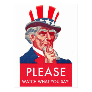 Retro Vintage Kitsch Uncle Sam Watch What You Say Postcard