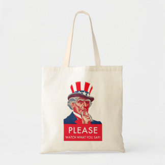 Retro Vintage Kitsch Uncle Sam Watch What You Say Tote Bag
