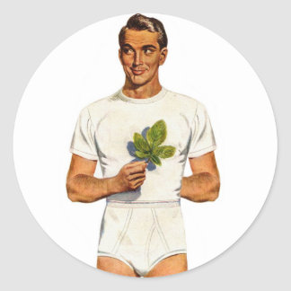 Retro Vintage Kitsch Underpants Whitey Tighties Classic Round Sticker