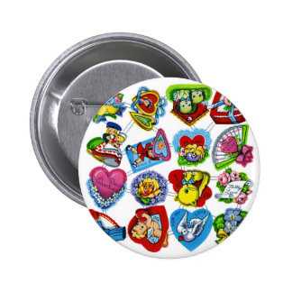 Retro Vintage Kitsch Valentine Paper Cut-Outs Pinback Button