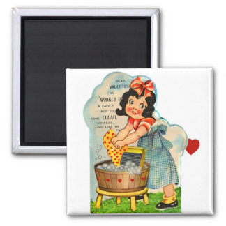 Retro Vintage Kitsch Valentine Worked Up A Fancy 2 Inch Square Magnet
