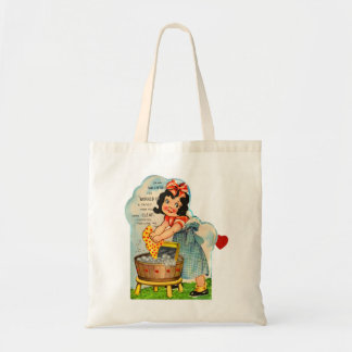 Retro Vintage Kitsch Valentine Worked Up A Fancy Tote Bags