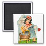 Retro Vintage Kitsch Valentine Worked Up A Fancy Refrigerator Magnets