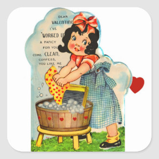 Retro Vintage Kitsch Valentine Worked Up A Fancy Square Sticker