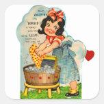 Retro Vintage Kitsch Valentine Worked Up A Fancy Stickers