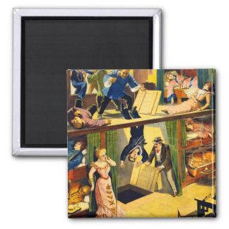 Retro Vintage Kitsch Vaudeville 'Opium Den Murder' 2 Inch Square Magnet