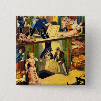 Retro Vintage Kitsch Vaudeville 'Opium Den Murder' Button