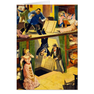 Retro Vintage Kitsch Vaudeville 'Opium Den Murder' Greeting Cards