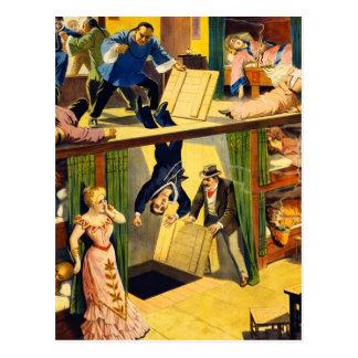 Retro Vintage Kitsch Vaudeville 'Opium Den Murder' Postcards
