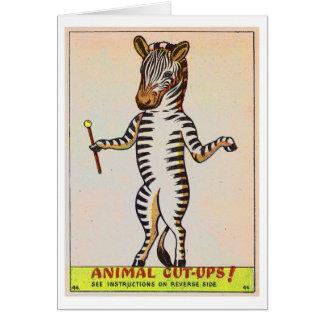 Retro Vintage Kitsch Walking Zebra Childrens Book Greeting Card