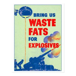 Retro Vintage Kitsch War Bring Us Your Waste Fats Postcard