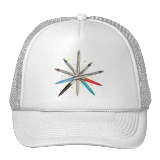 Retro Vintage Kitsch Wheel of Ballpoint Pens Trucker Hat