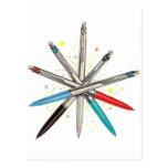 Retro Vintage Kitsch Wheel of Ballpoint Pens Post Cards