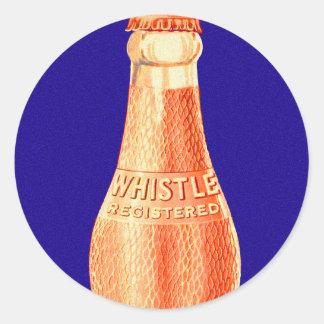 Retro Vintage Kitsch Whistle Soda Pop Bottle Ad Classic Round Sticker