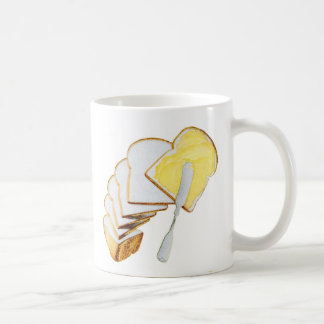 Retro Vintage Kitsch White Bread and Butter Coffee Mug