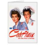 Retro Vintage Kitsch WW2 Cadet Nurse Greeting Card