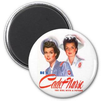 Retro Vintage Kitsch WW2 Cadet Nurse Magnet