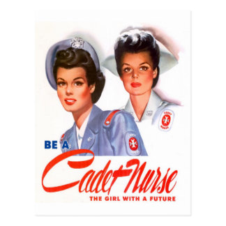Retro Vintage Kitsch WW2 Cadet Nurse Postcard