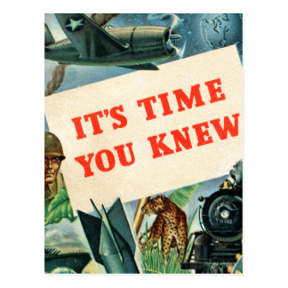 Retro Vintage Kitsch WW2 'It's Time You Knew' Fact Postcard