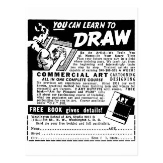 Retro Vintage Kitsch You Can Learn To Draw Ad Postcard