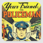 Retro Vintage Kitsch Your Friend The Policeman Square Stickers