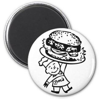 Retro Vintage Kitsch Zim's Hamburgers 2 Inch Round Magnet