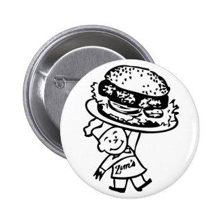 Retro Vintage Kitsch Zim's Hamburgers Pinback Button