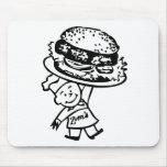 Retro Vintage Kitsch Zim's Hamburgers Mousepads