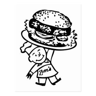 Retro Vintage Kitsch Zim's Hamburgers Postcard