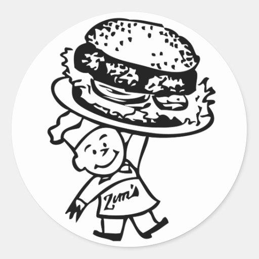 Retro Vintage Kitsch Zim's Hamburgers Round Sticker