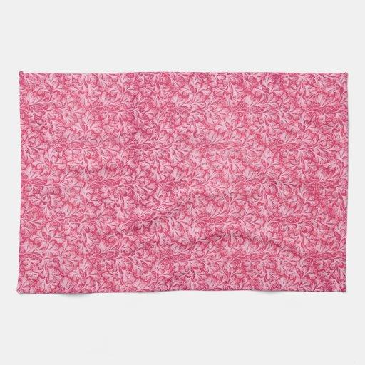 Retro Vintage Lace Leaf Red Kitchen Towels