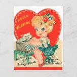 Retro Vintage Lady Valentine Holiday postcard