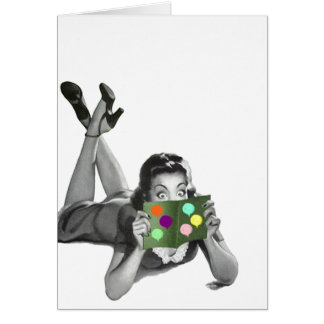Retro Vintage Lady w Balloon Party Card Blank TY