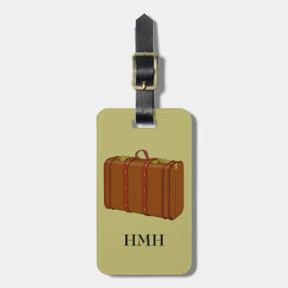 Retro Vintage Leather Suitcase Custom Tag For Bags