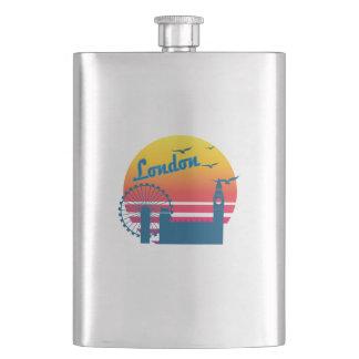 Retro Vintage London 2 Sunset, #London 2 Flask