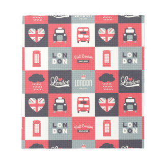 retro,vintage,London,UK,collage,twill,red,black Note Pad