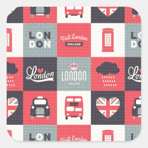 retro,vintage,London,UK,collage,twill,red,black Square Stickers