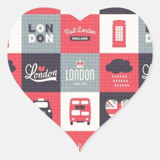 retro,vintage,London,UK,collage,twill,red,black Heart Sticker