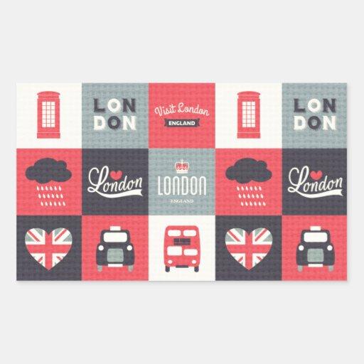 retro,vintage,London,UK,collage,twill,red,black Rectangle Sticker