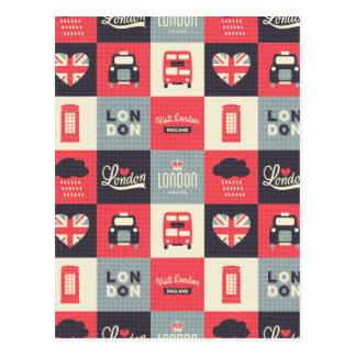 retro, vintage, Londres, Reino Unido, collage, Postal