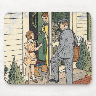 Retro Vintage Mailman Book Illustration Mousepad